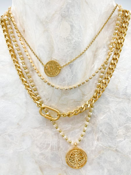 Sensational Layered Necklace W/ Disc