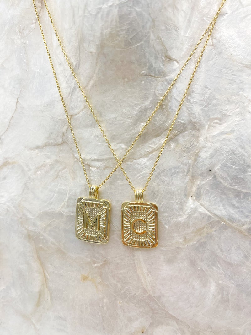 Santorini Rectangle Initial Necklace