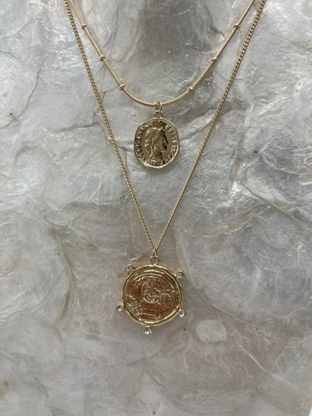 Daisy Double Coin Necklace
