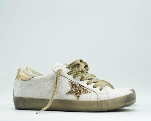 White/Gold Designer Dupe Star Sneaker