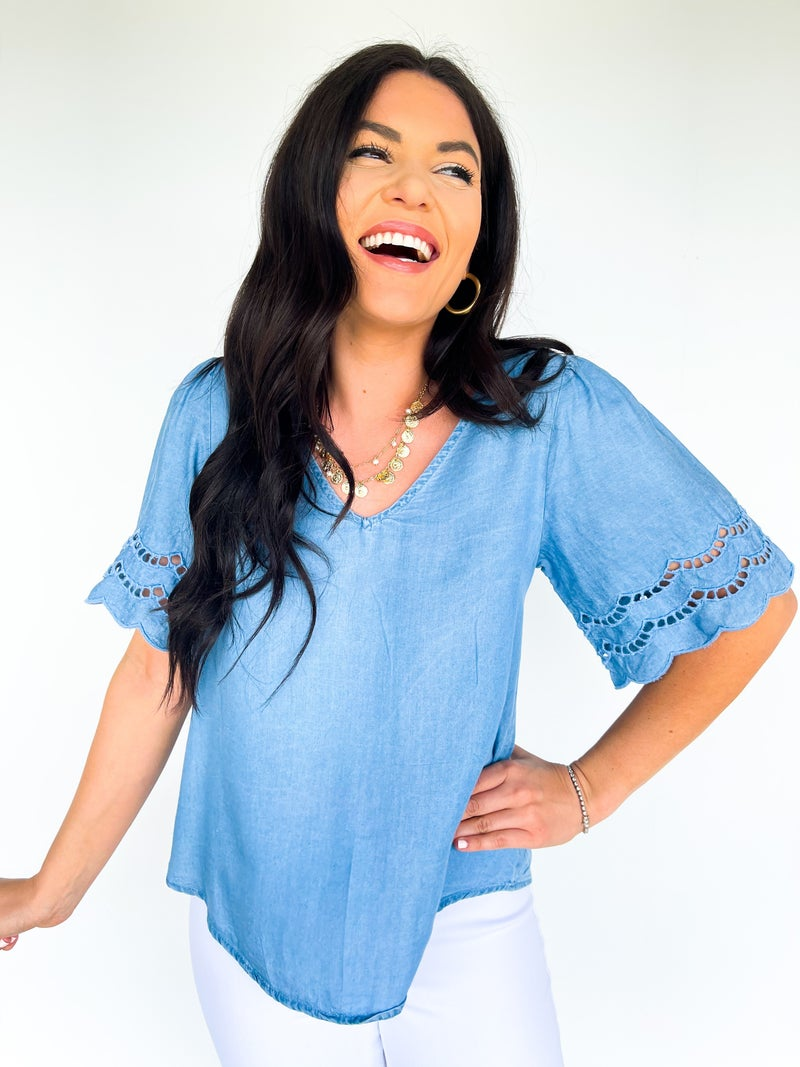 Chambray Castaway Blouse W/ Sleeve Detail