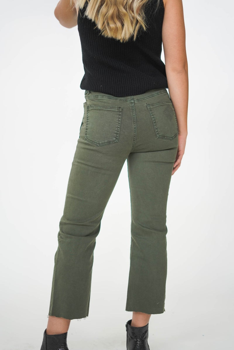 The Tehya Cropped Jean Army Green