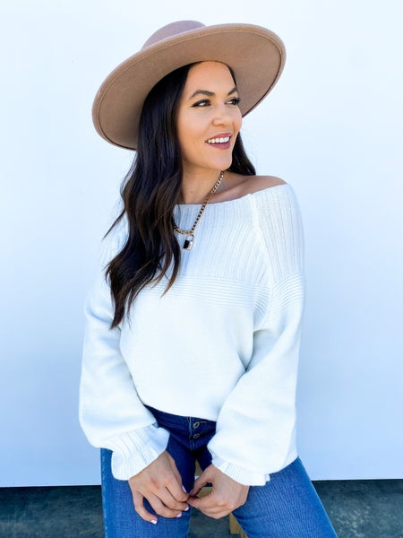 The Collette Cold Shoulder Sweater White