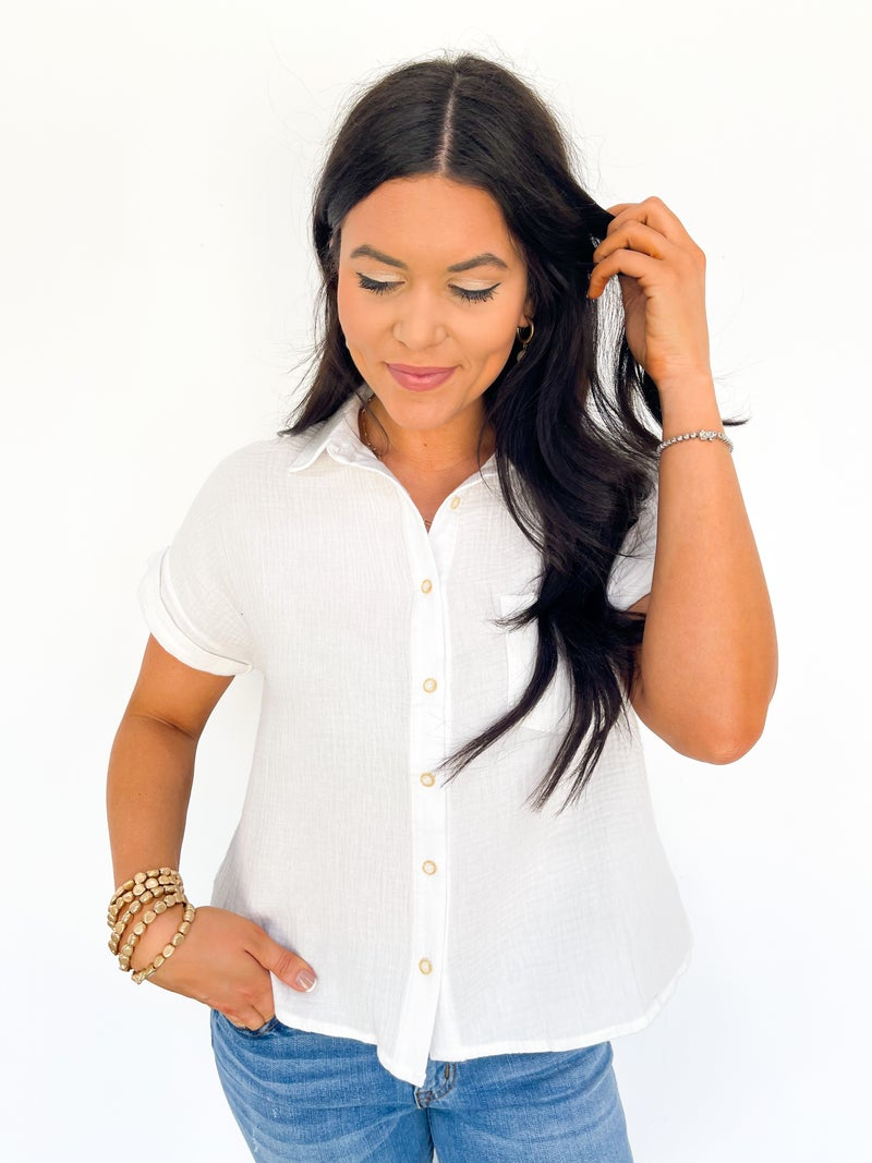Sunset Cruise White Button Down Short Sleeve Top