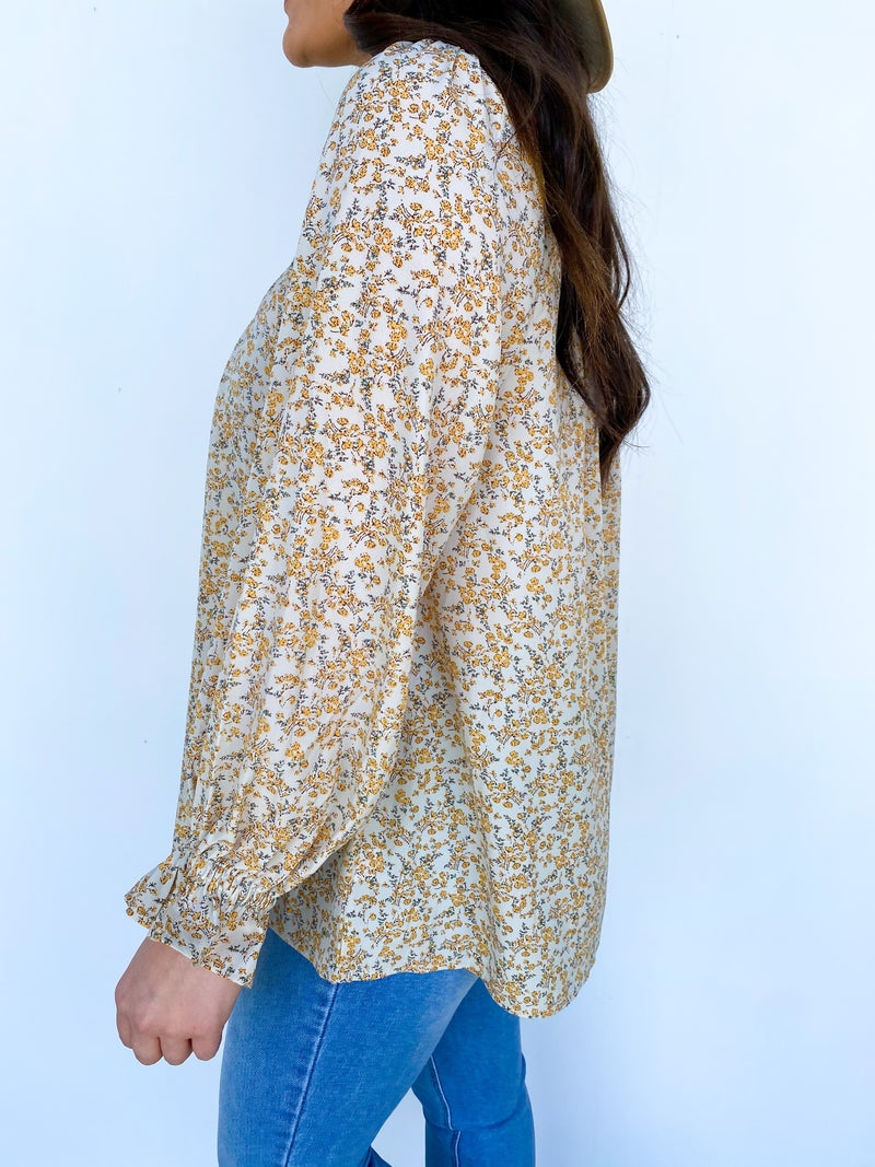 April Showers Floral Long Sleeve Top