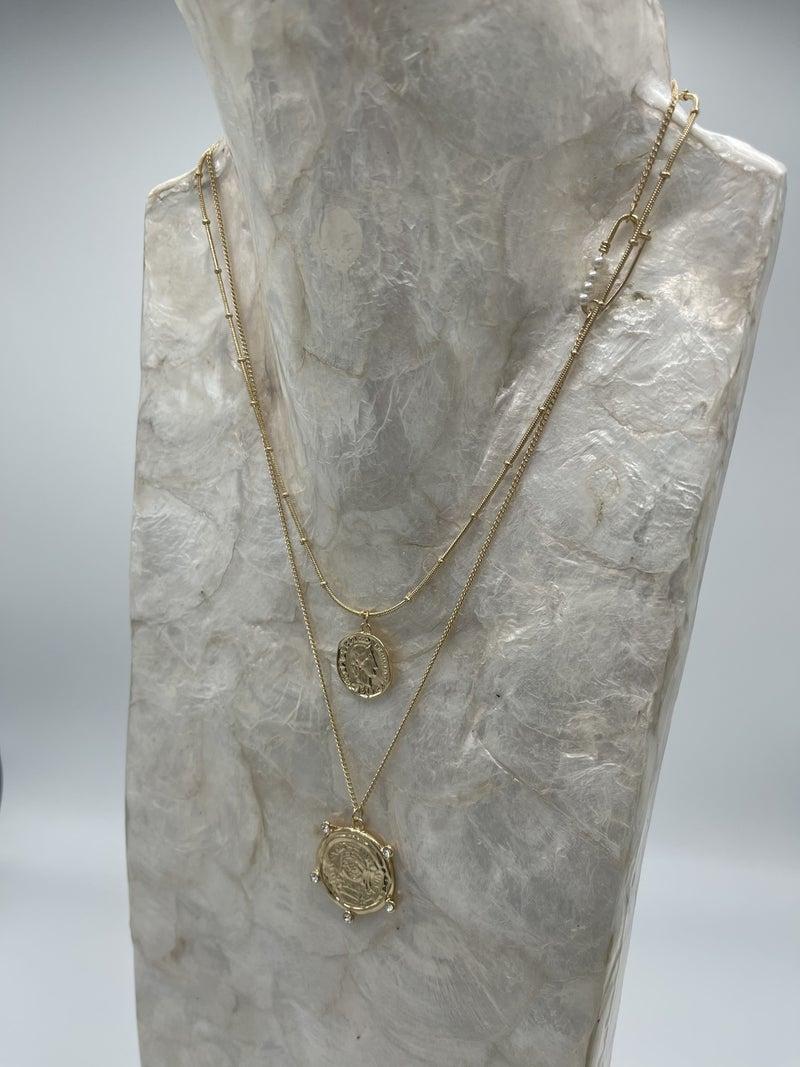 Daisy Double Coin Necklace