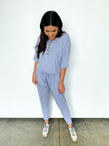 Travel Light 3/4 Length Sleeve Five Button Jumpsuit