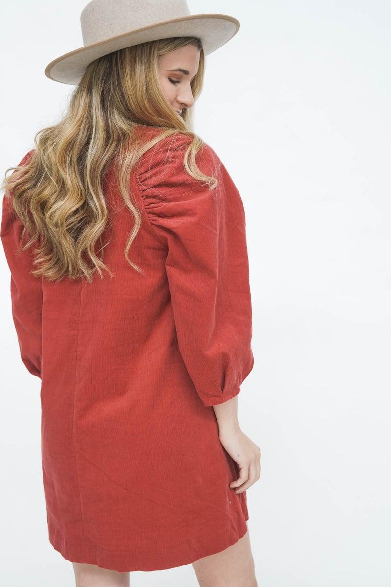 The Remy Puff Sleeve Corduroy Dress *Final Sale*
