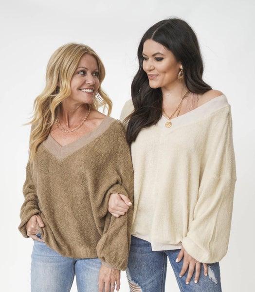 Bundle Up VNeck Sherling Sweater *Final Sale*