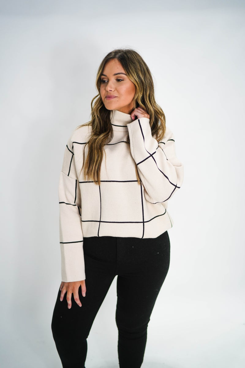 She Means Business Grid MockNeck Sweater