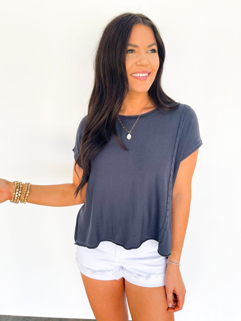 Sweet Spring Day Lightweight Sweater Top - Navy