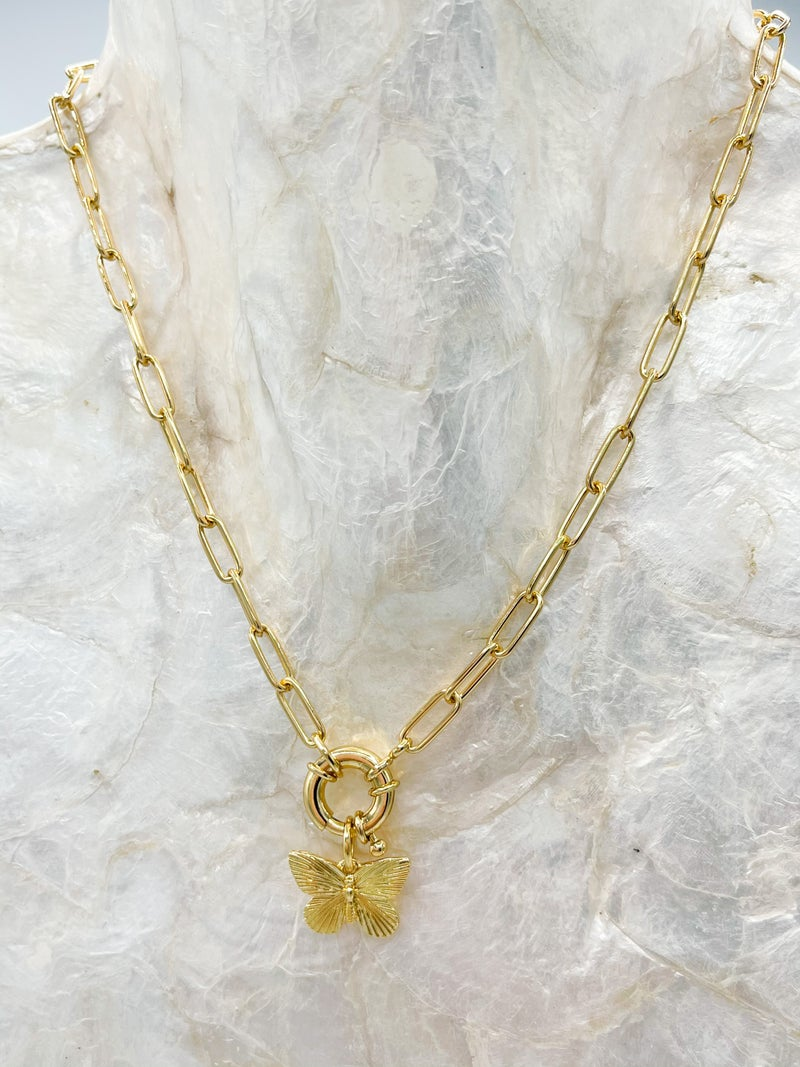 Butterfly Lariat W/ Circle Necklace