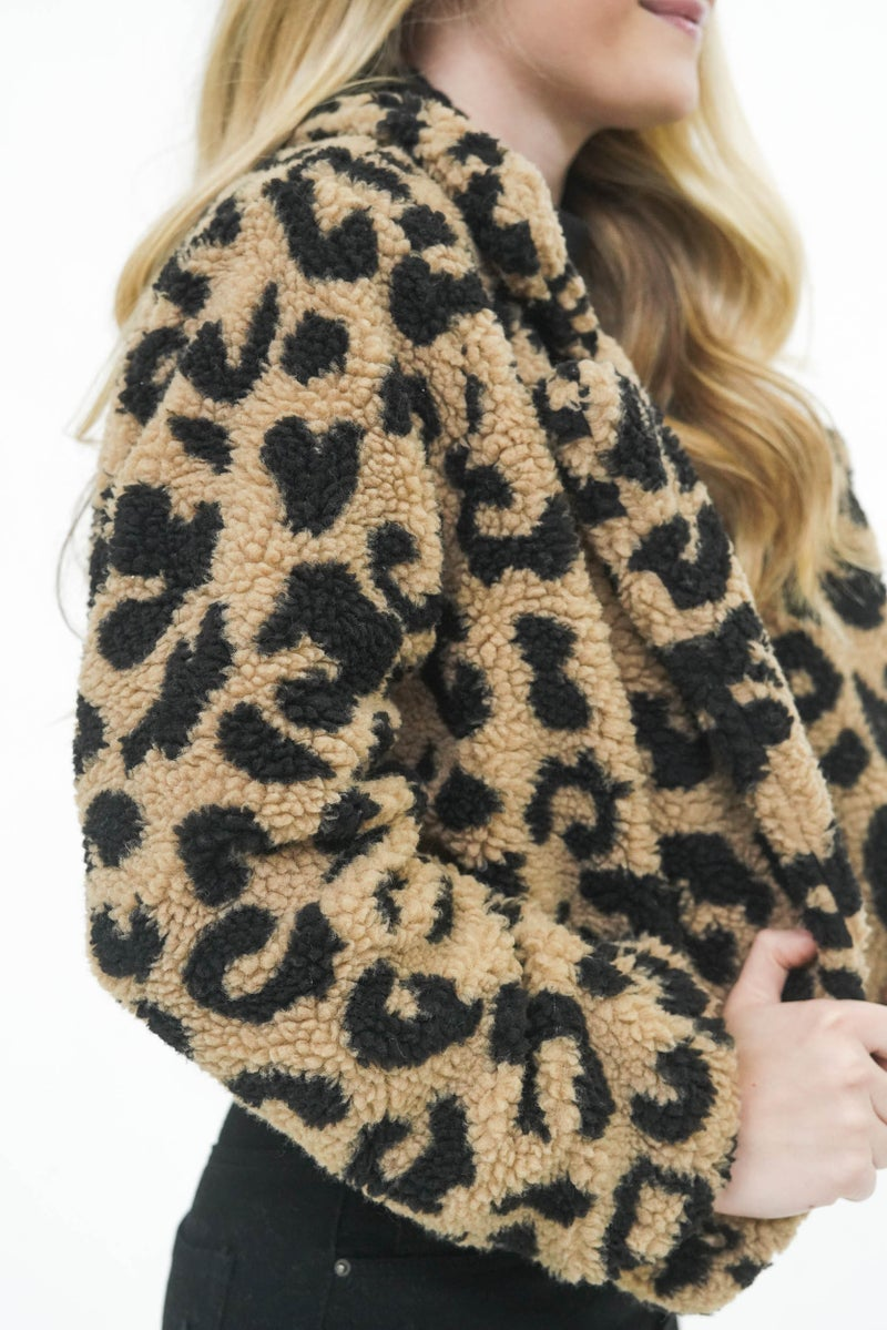 The Cicily Cheetah Cropped Sherpa *Final Sale*