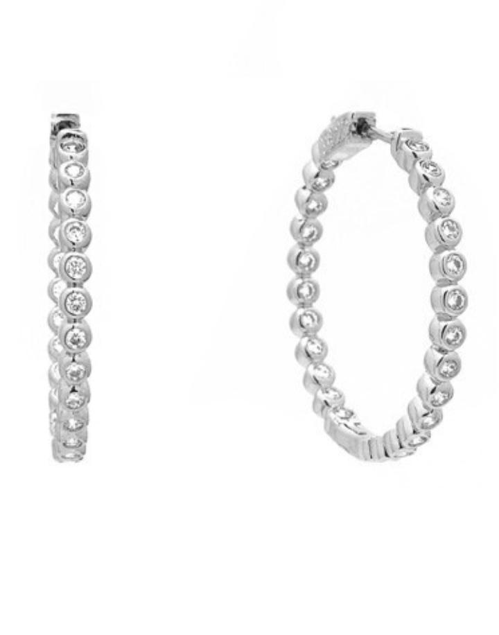 """Silver Round CZ 1.25"""" Elegant Hoop Earrings *Final Sale*"""