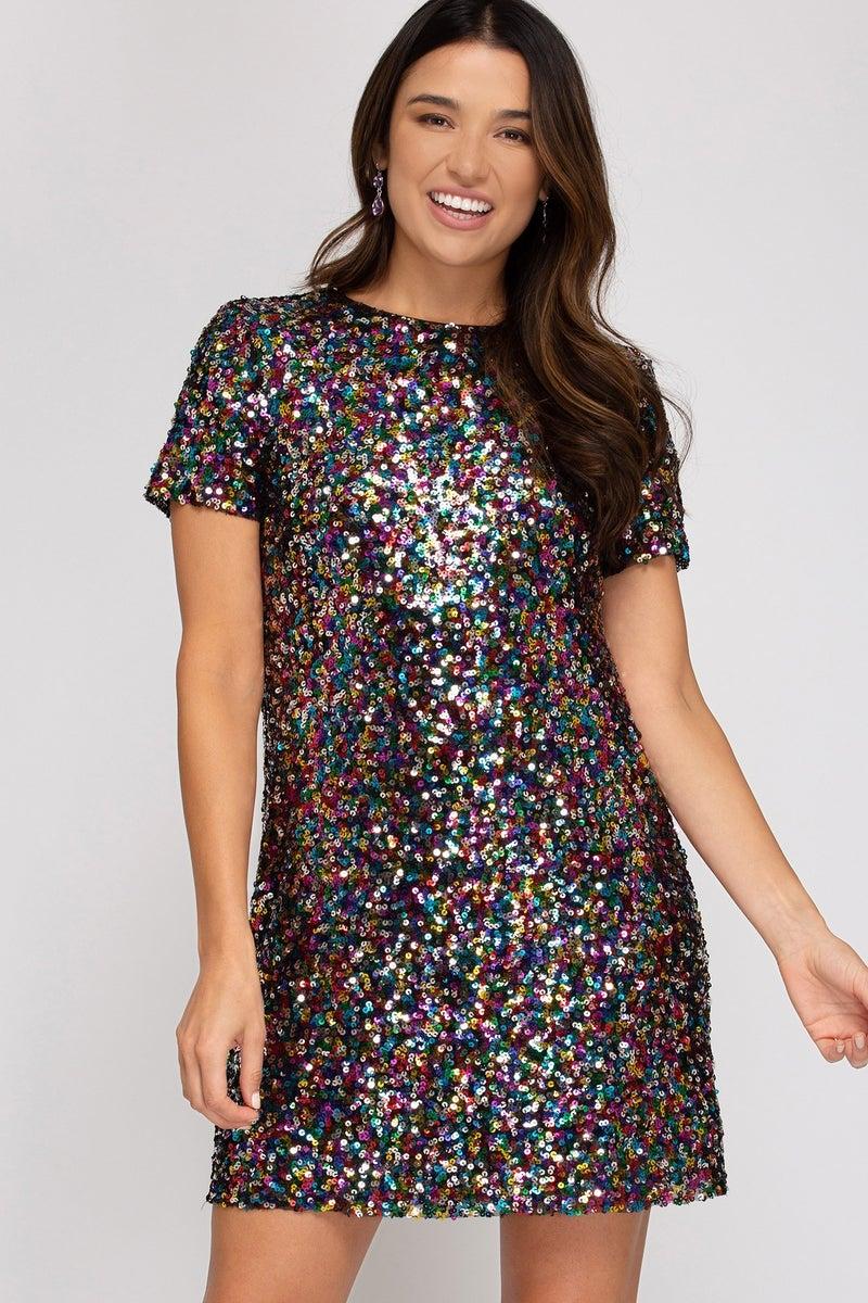 Confetti Kisses Cap Sleeve Sequin Dress *Final Sale*