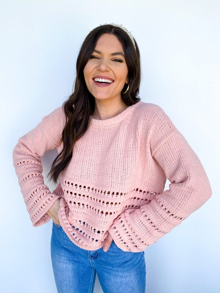The Nora Cropped Detail Sweater *Final Sale* - Dusty Pink
