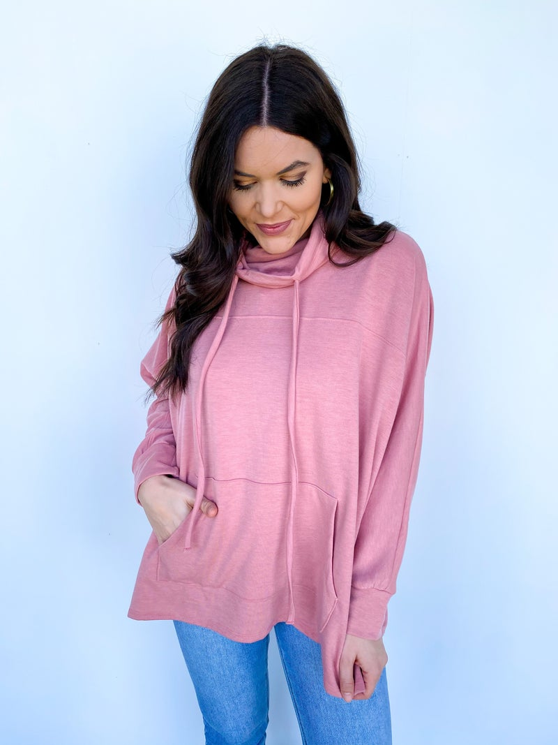 The Astrid Pullover Drawstring Top - Mauve