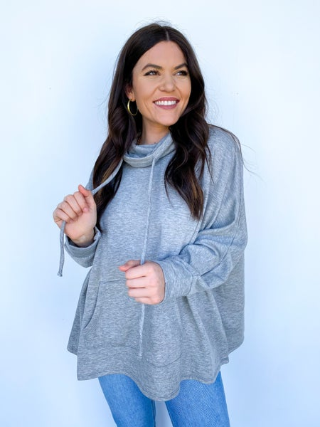 The Astrid Pullover Drawstring Top - Heather Grey