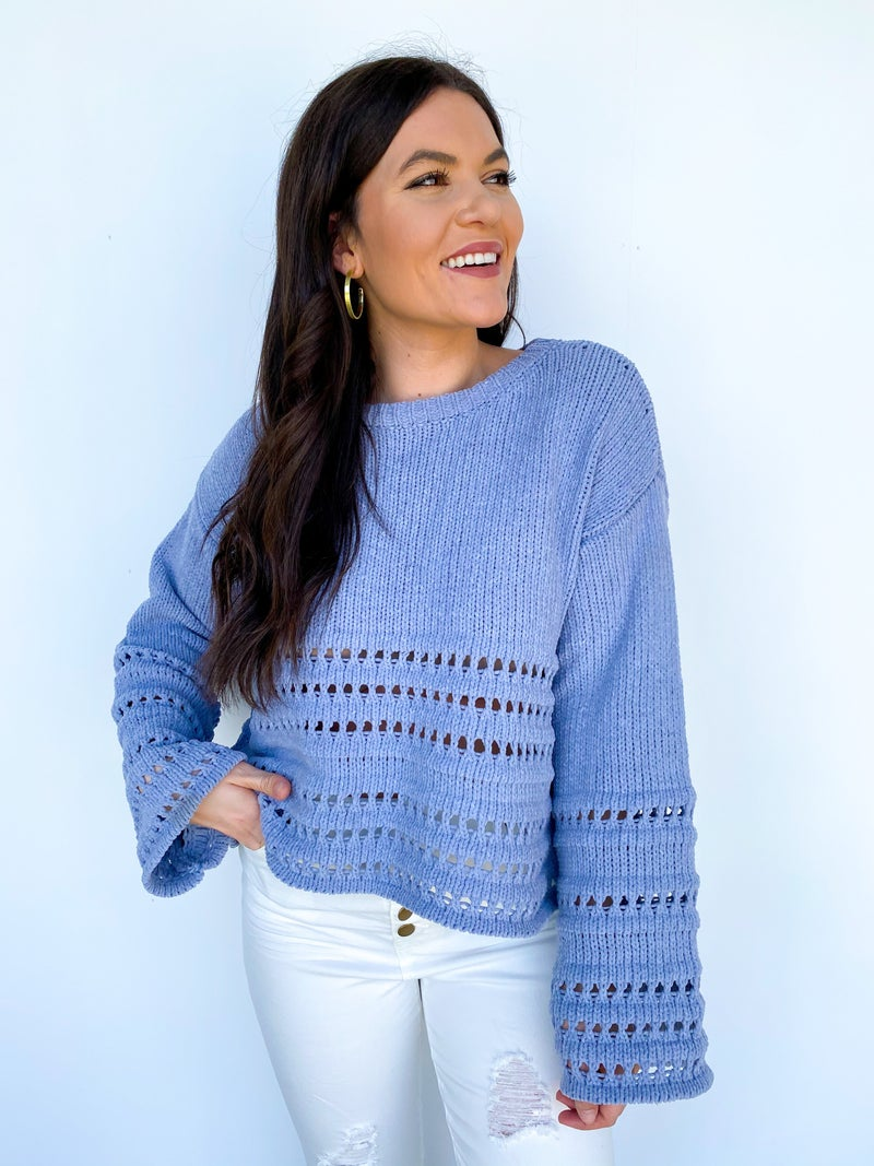 The Nora Cropped Detail Sweater - Steel Blue