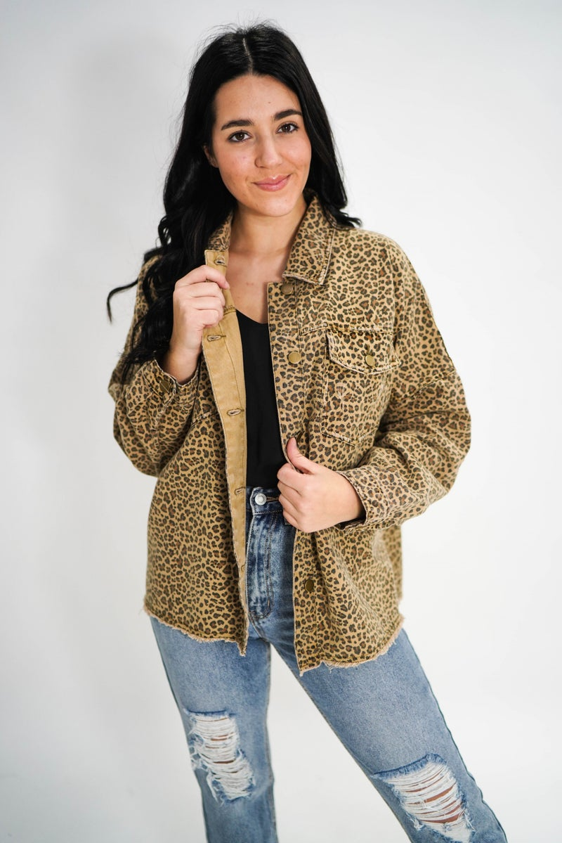Spotted Wearing Spots Cheetah Button Shacket