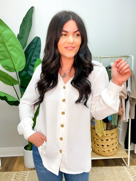 She's A Boss Button Down Blouse - White