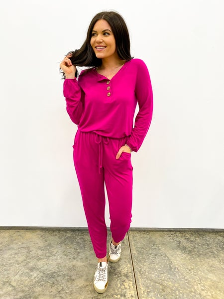 Bags Checked Long Sleeve Jumpsuit - Hot Pink