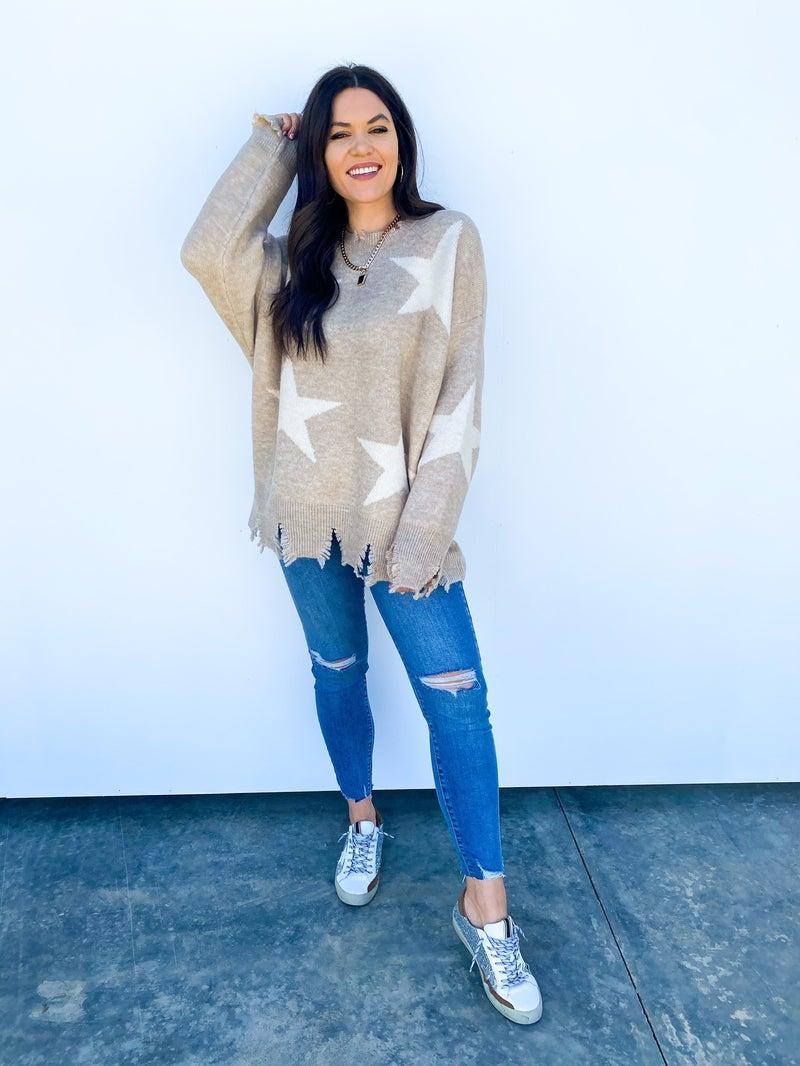 Daphne Distressed Star Sweater