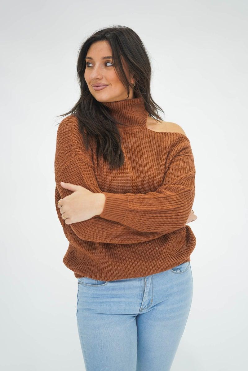 Sneak Peek Open Shoulder Turtle Neck Sweater