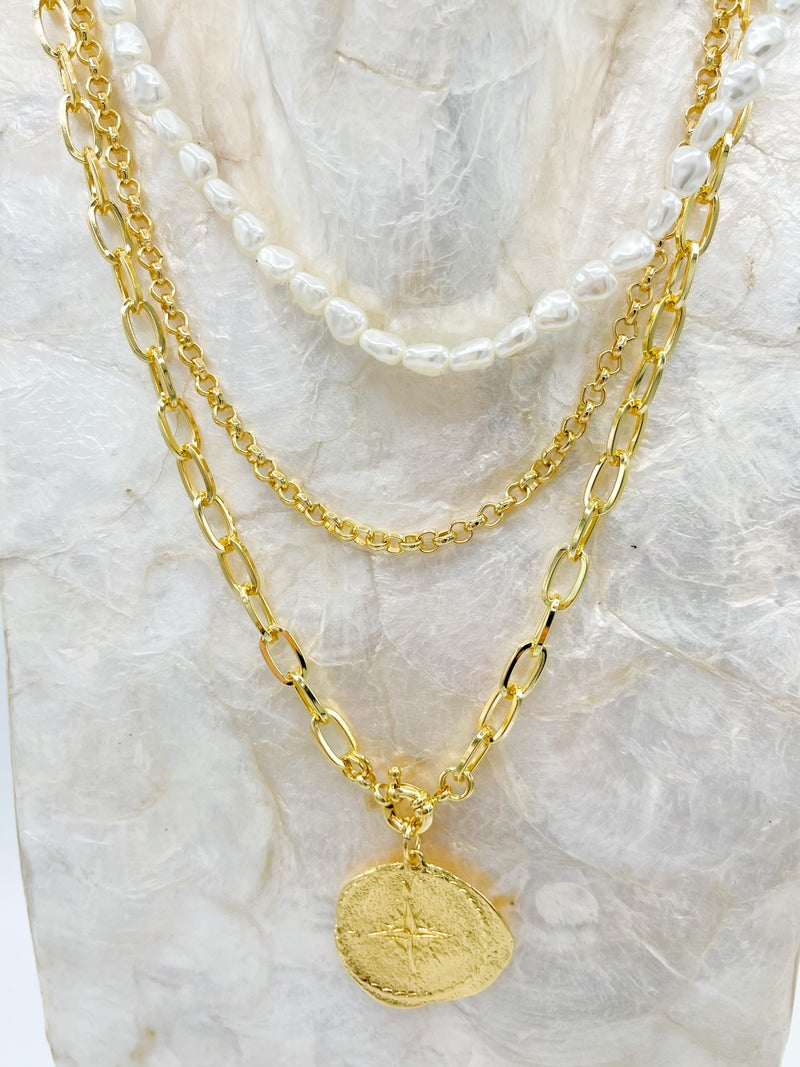 Bentlie 3 Layer Chunky Necklace W/ Coin