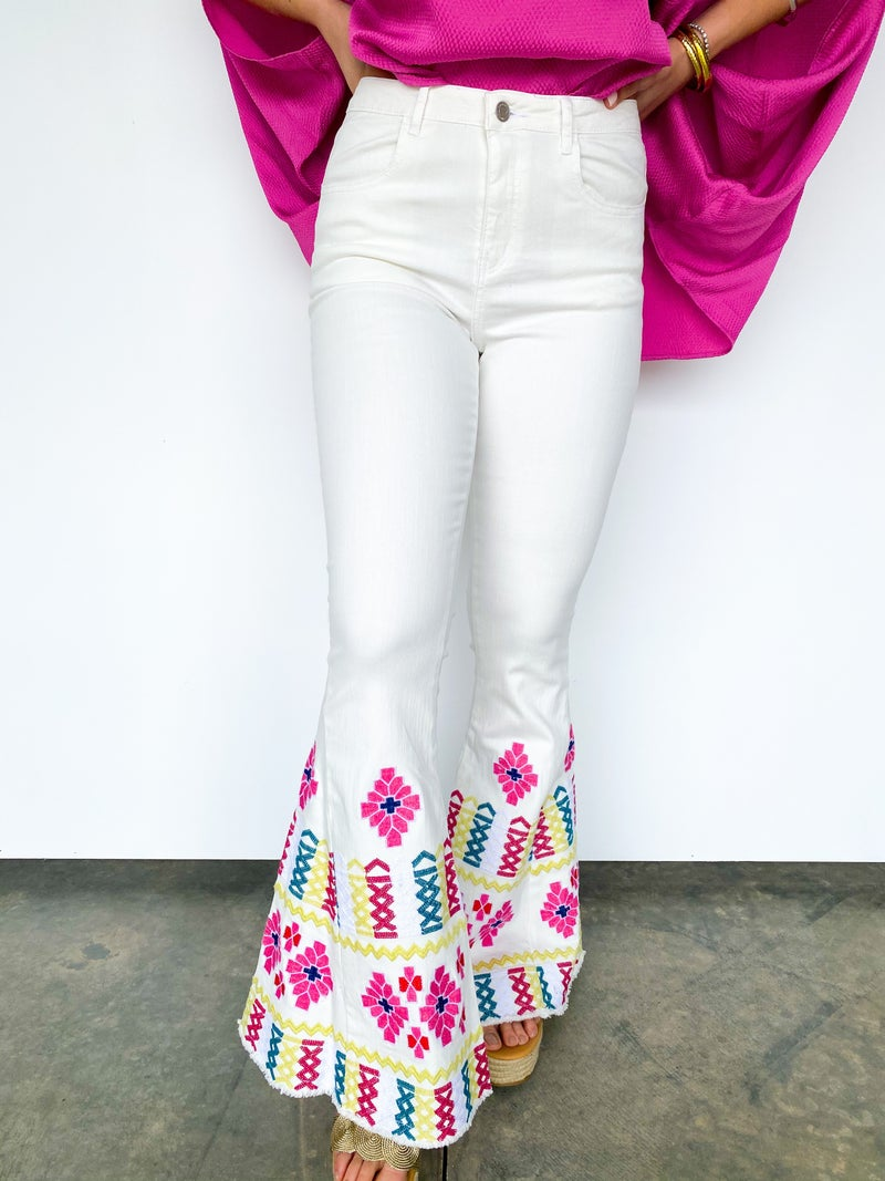 Heart On Lock Embroidery Flare Jean