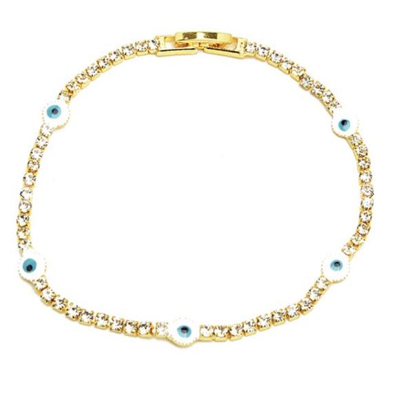 Gold Cubic Zirconia Evil Eye Tennis Bracelet *Final Sale*