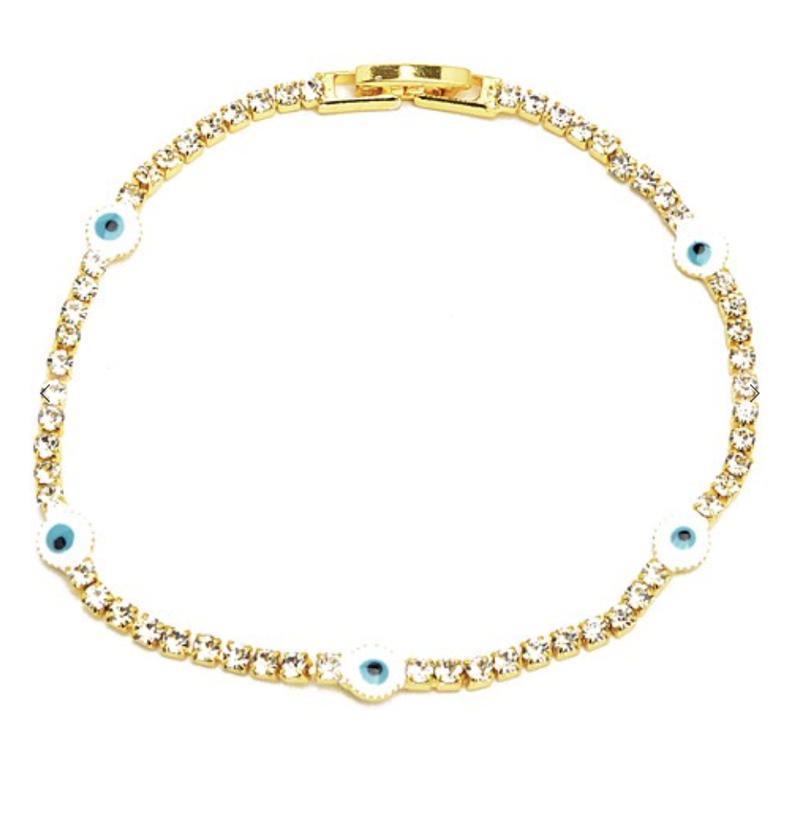 Gold Cubic Zirconia Evil Eye Tennis Bracelet *Final Sale*