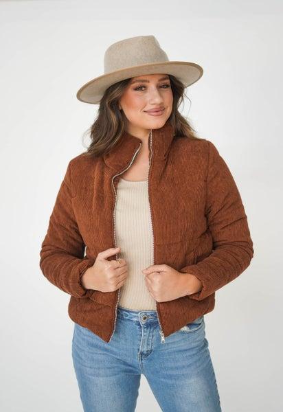 Cute N' Casual Corduroy Zip Puffer Jacket