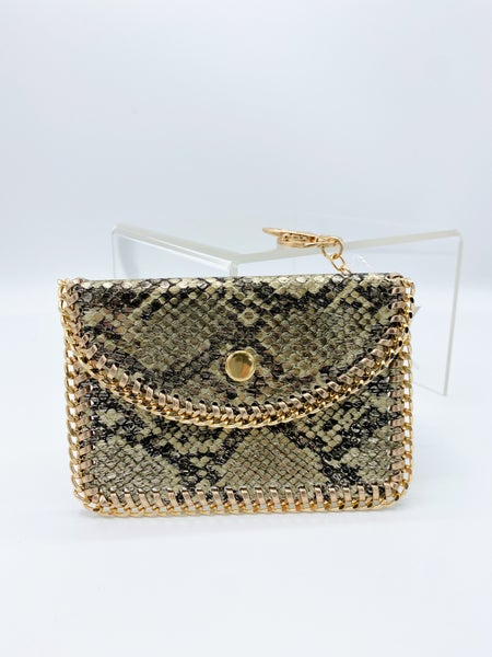 Snakeskin Gold Chain Card Holder