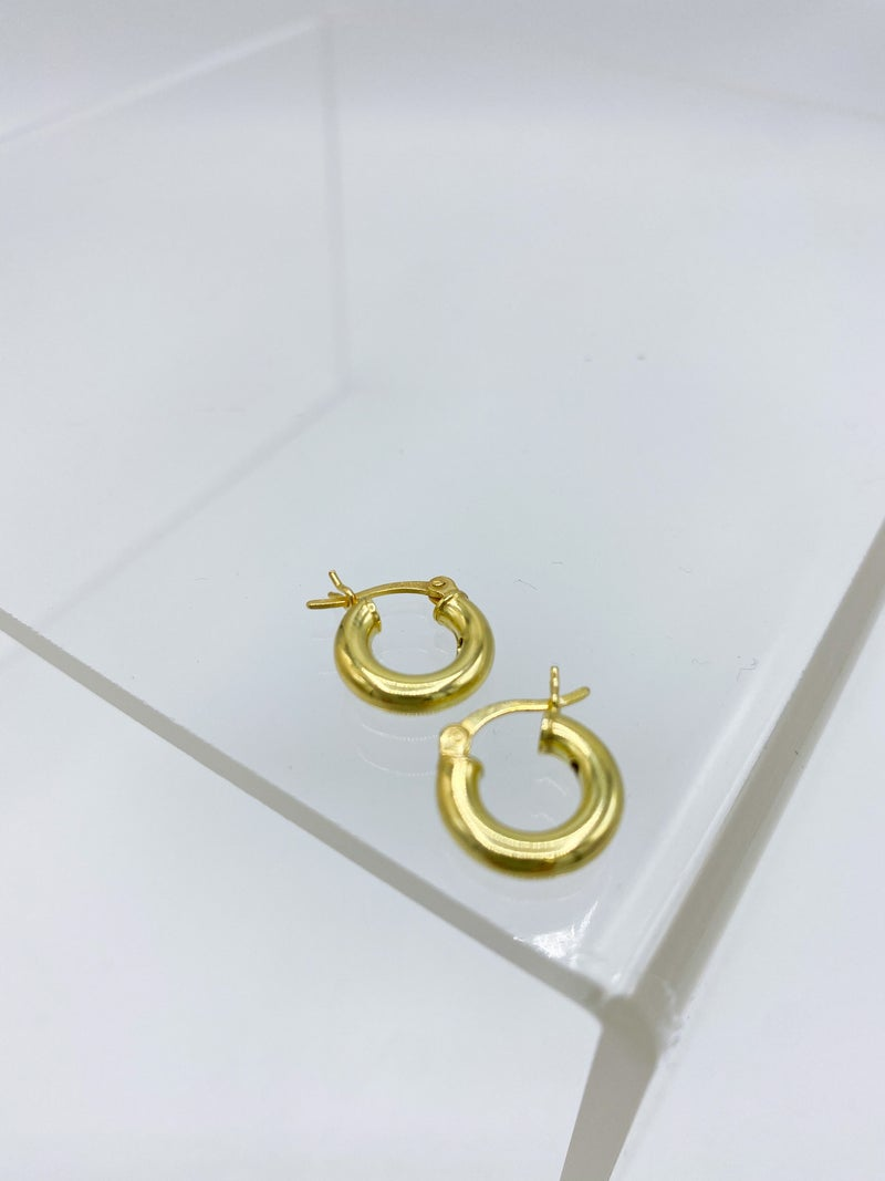 Sterling Silver Gold Plated Hollow Hoop Earring *Final Sale*
