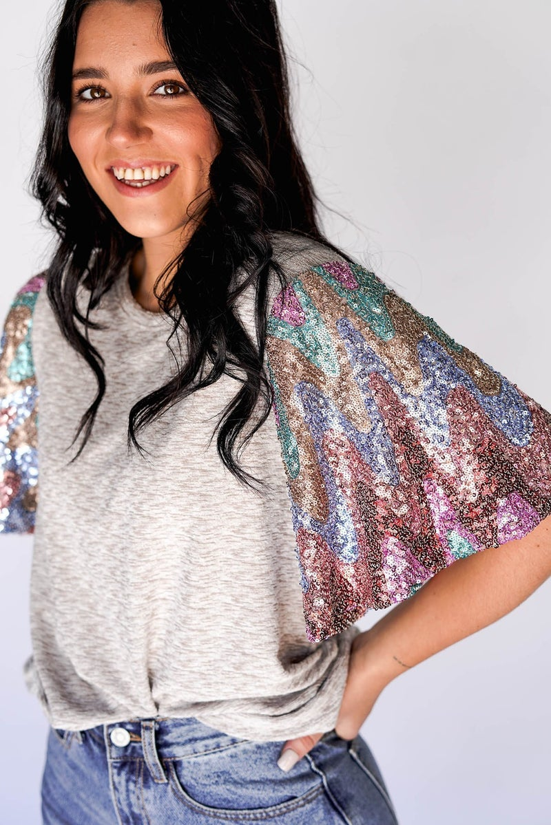 Champagne Night Sequin Sleeve Top *Final Sale*