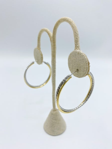 "Two Tone Rope 1.5"" Design Hoop Earrings *Final Sale*"