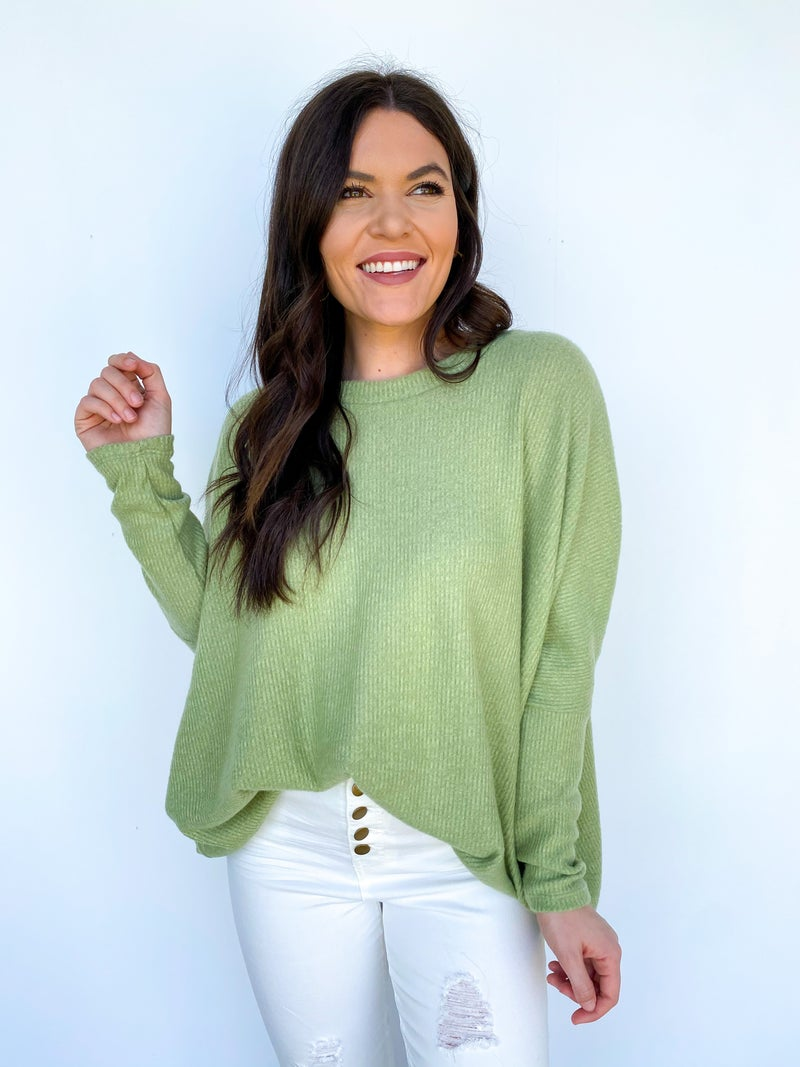 The Aurora Long Sleeve Everyday Top - Lime