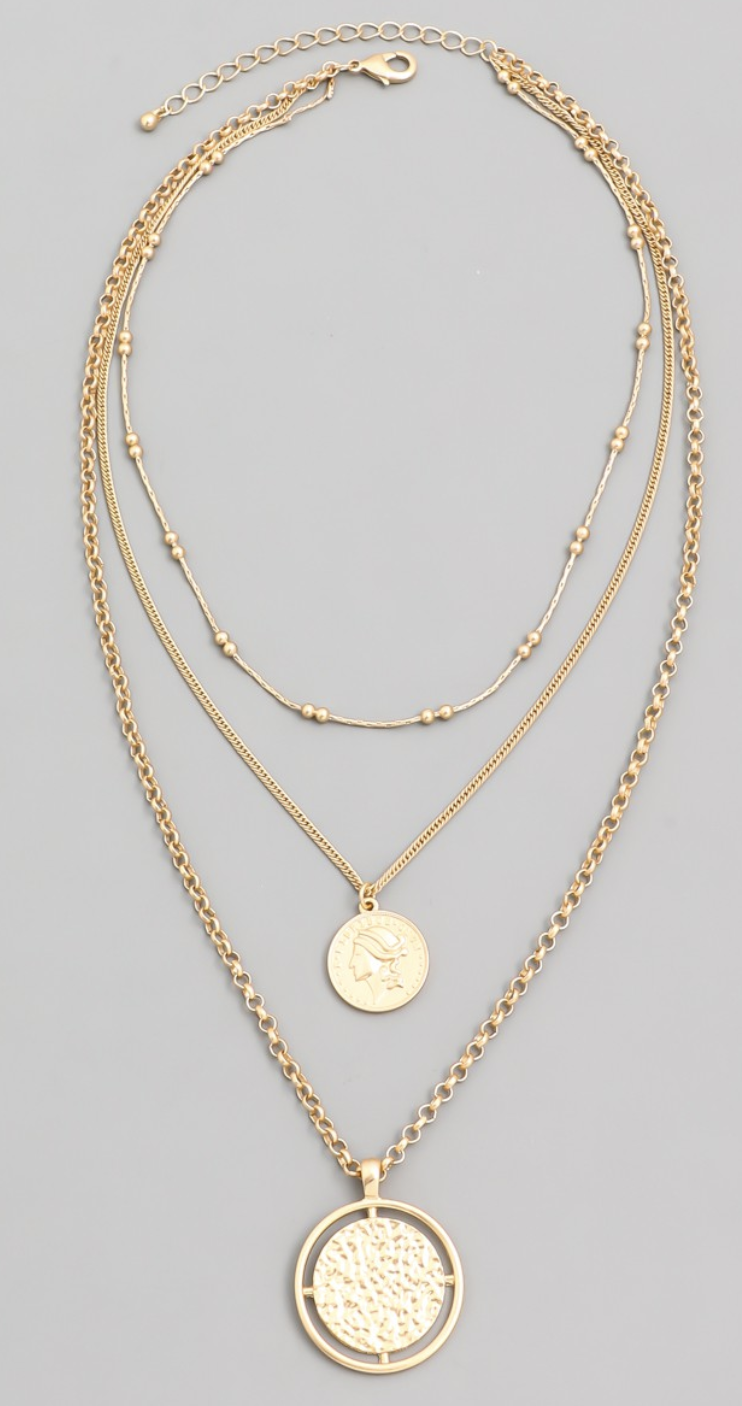 Matte Gold Layered Medal Necklace