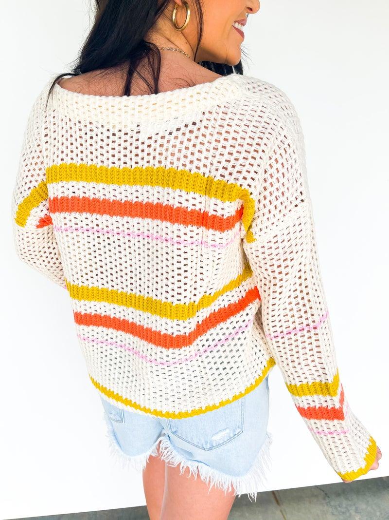 Cali Dreams Woven Stripe Sweater Ivory