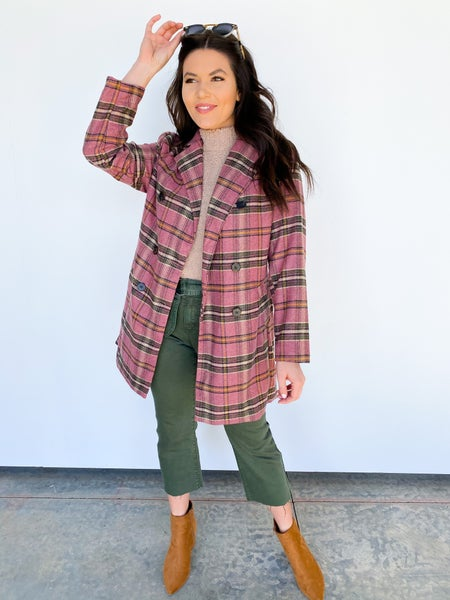 Four Button Pink Plaid Blazer
