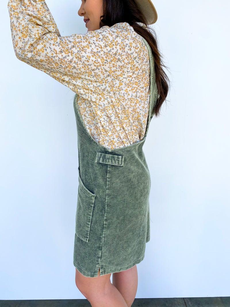 Crista Cord Overall Dress Olive