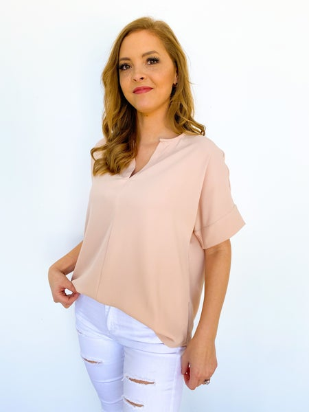 The Sam V Neck Blouse - Blush