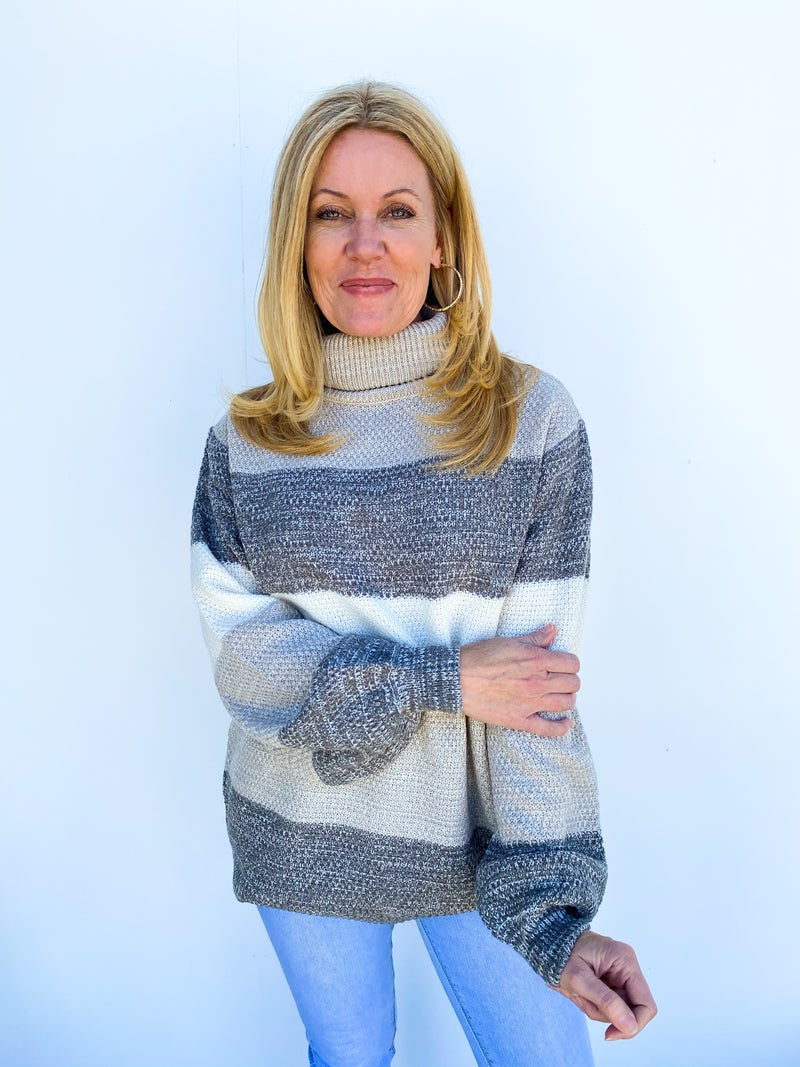 Say Yes To Stripes Sweater - Light Grey
