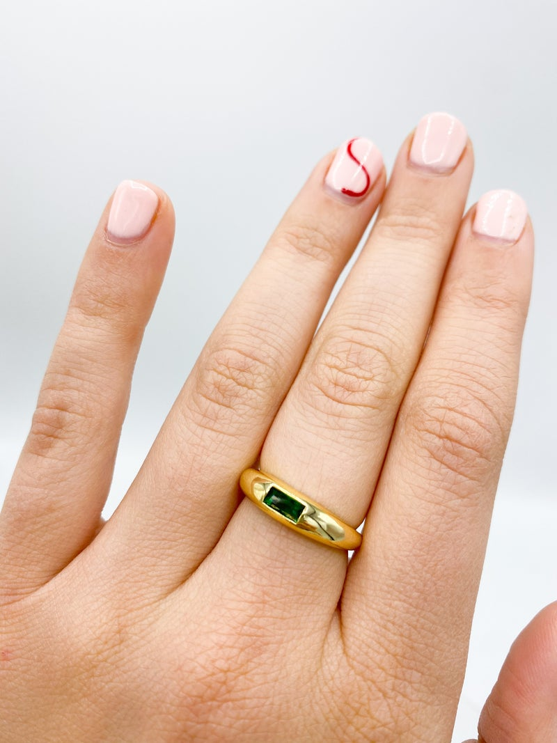 Green/Gold Cubic Zirconia Adjustable Band Ring *Final Sale*