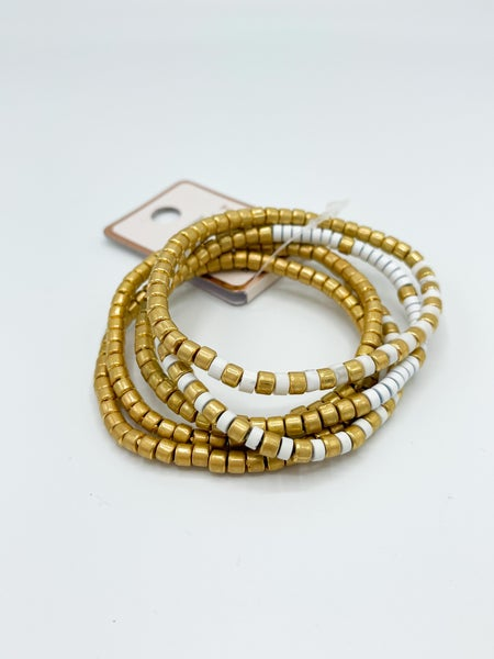 Matte Gold And White Stackable Bracelet