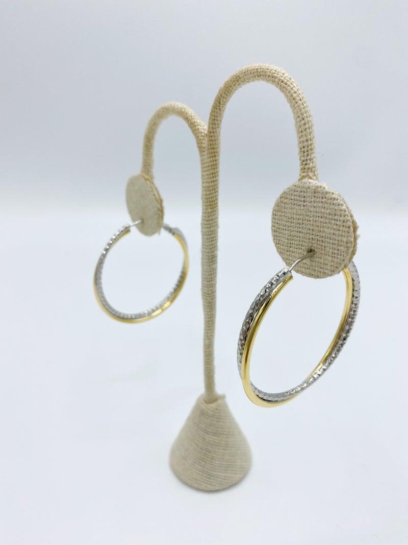 """Two Tone Rope 1.5"""" Design Hoop Earrings *Final Sale*"""