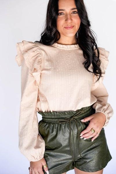 Show Girl Shoulder Long Sleeve Blouse