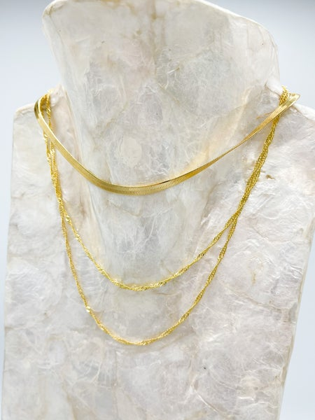 Nina Herringbone/Chain Layered Necklace