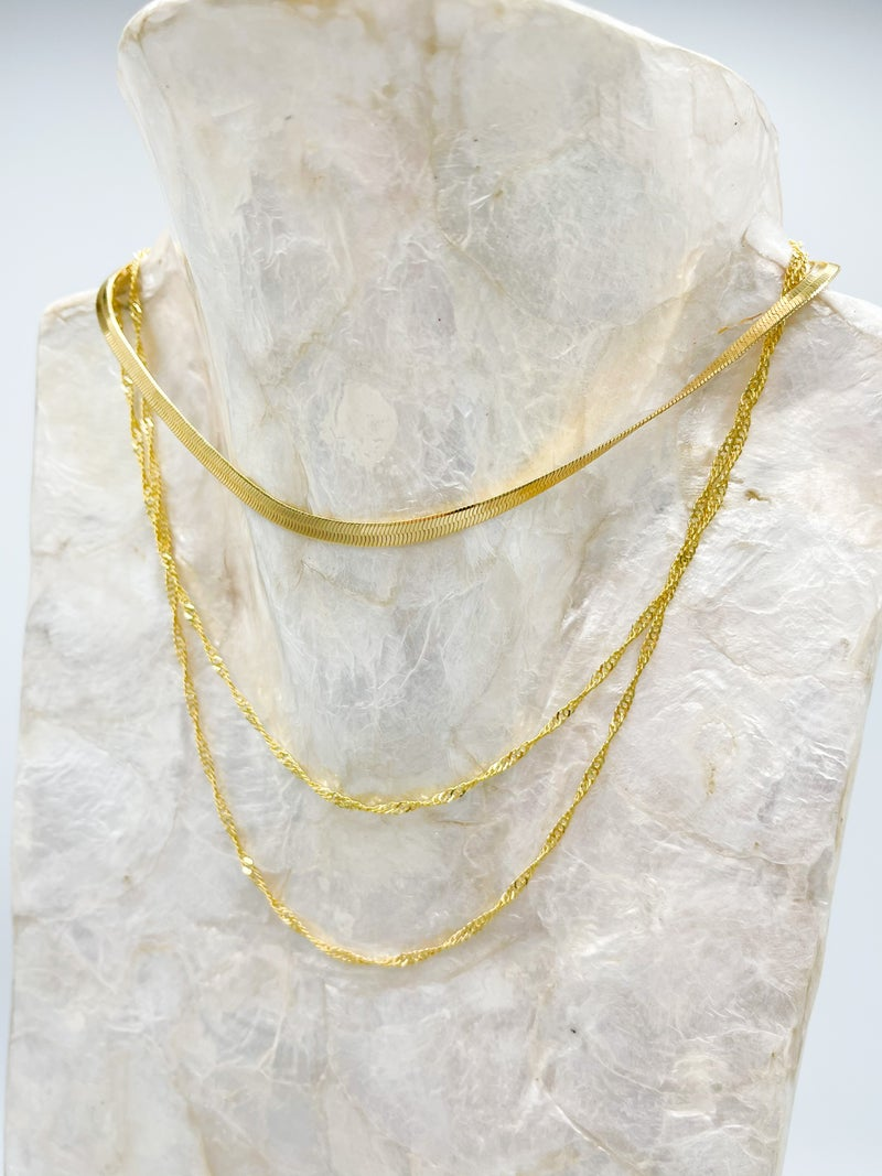 Nina Herringbone/Chain Layered Necklace